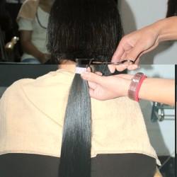 Laura's hair getting cut