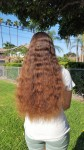 20 inches of stunning virgin natural ombré hair – from rich chestnut to shimmering golden auburn