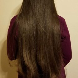 Back of hair, goes to below hips