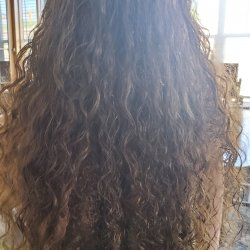virgin thick curly brown hair, pre-cut, with four locks in total