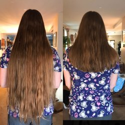 hair side by side