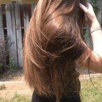 Virgin reddish brown hair with natural golden highlights.